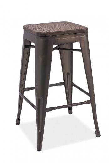 Scaun de bar din metal, cu sezut de lemn Long II Dark Walnut / Graphite, l31xA31xH76 cm