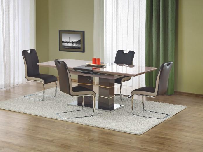 Set masa extensibila din MDF si metal Lord Light Grey + 4 scaune K184 Dark Brown, L160-200xl90xH75 cm