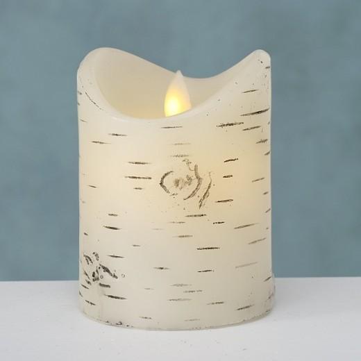 Lumanare decorativa cu LED Birke Alb, Ø8xH10 cm