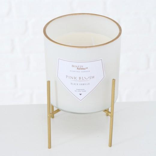 Lumanare parfumata in pahar cu 2 fitile si suport inclus Karin Alb, Ø10xH10 cm