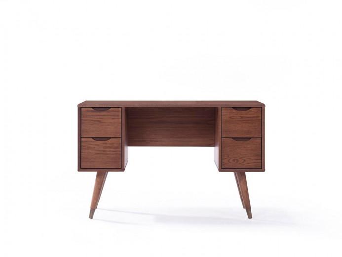Masa de birou cu 4 sertare din MDF si furnir, Helma, l120xA45xH75 cm