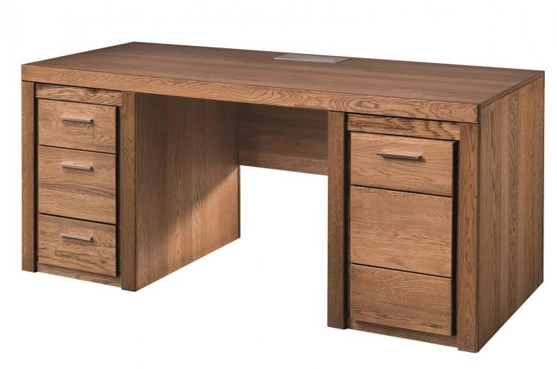 Masa de birou din furnir si pal, cu 3 sertare si 1 usa Velvet 37 Stejar Rustic, L177xl80xH78 cm