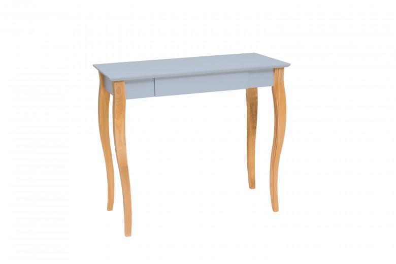 Masa de birou din lemn de fag si MDF, cu 1 sertar Lillo Medium Light Grey / Beech, L85xl40xH74 cm