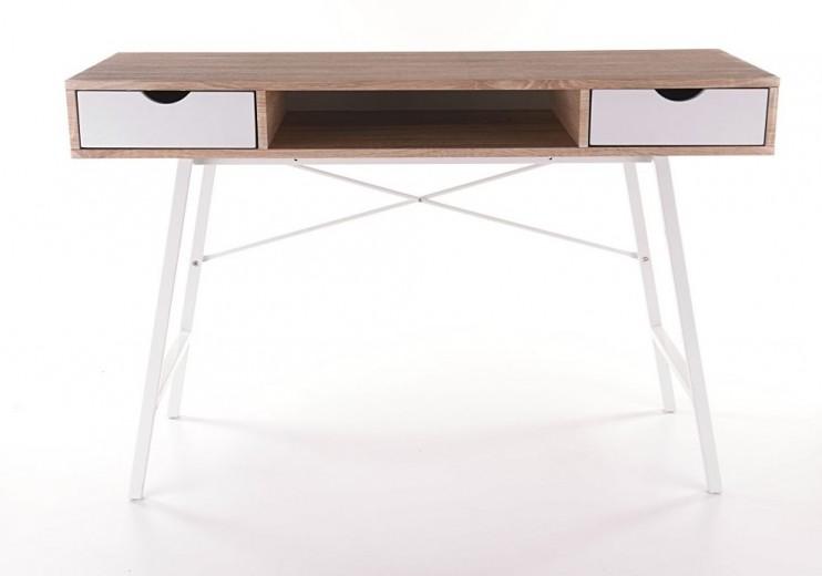 Masa de birou din MDF si metal, cu 2 sertare B-140 Stejar Sonoma / Alb, L120xl48xH76 cm