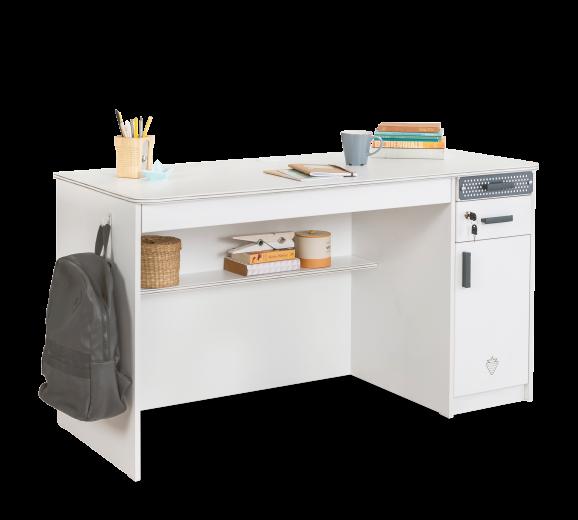 Masa de birou din pal, cu 3 sertare si 1 usa pentru tineret White Large, L138xl58xH75 cm