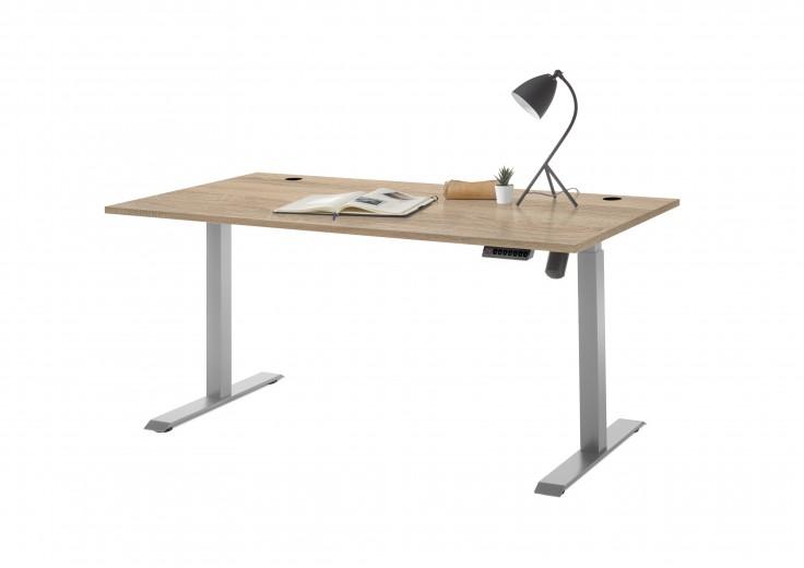 Masa de birou din pal si metal, cu reglaj electric pe inaltime Prato Stejar Sonoma, L160xl77xH72-120 cm