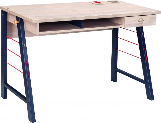 Masa de birou din pal si metal pentru tineret, baieti 12-24 ani, Trio Natur / Blue, l114xA64xH76 cm