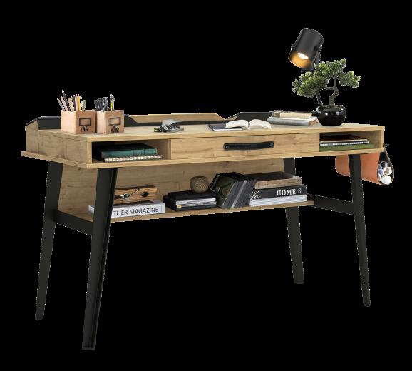 Masa de birou din pal si metal, pentru tineret Wood Metal Large Natural / Negru, L134xl62xH80 cm