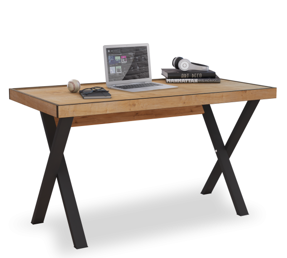 Masa de birou din pal si metal, pentru tineret Young Stejar / Negru, L130xl70xH75,5 cm