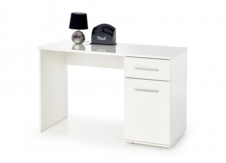 Masa de birou din pal, cu 1 sertar si 1 usa Lima B-1 Alb, L120xl55xH75 cm