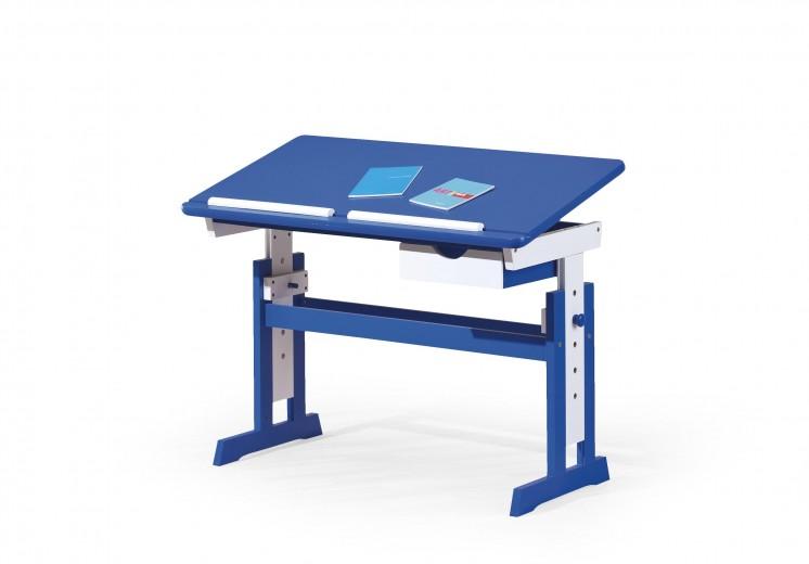 Masa de birou pentru copii, din MDF si lemn Paco Blue / White, L109xl55xH65-93 cm