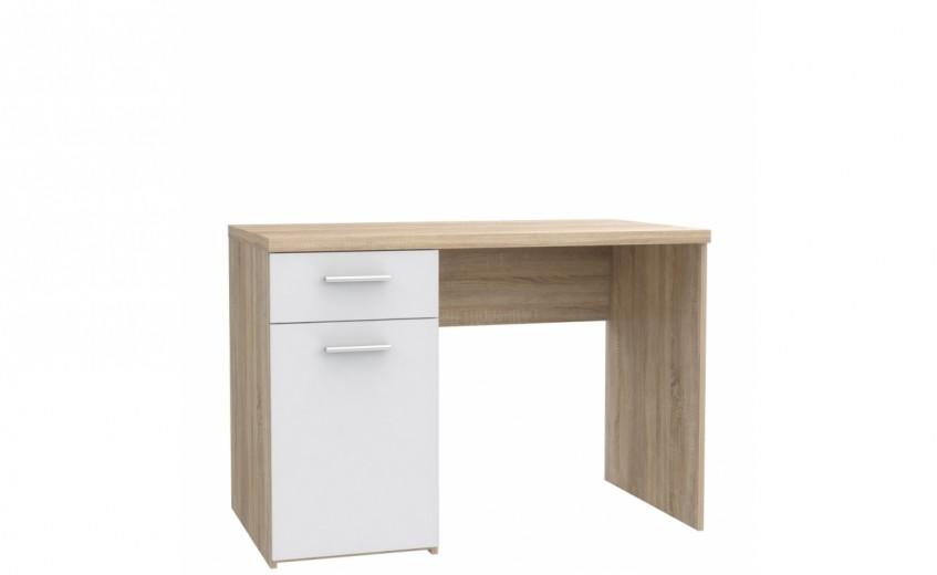 Masa de birou din pal, cu 1 sertar si 1 usa Winer Stejar Sonoma / Alb, L110xl60xH76,3 cm