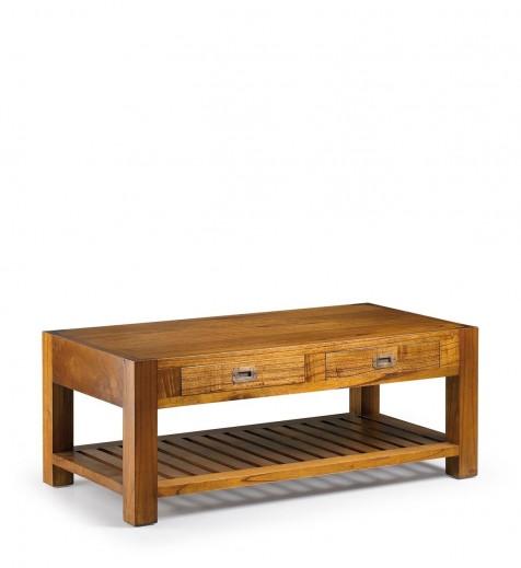 Masa de cafea din lemn, cu 2 sertare Centro Star Nuc, L120xl60xH40 cm