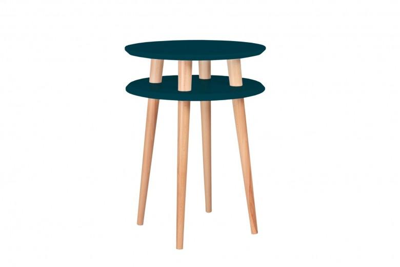 Masa de cafea din lemn de fag si MDF Ufo High Petrol Blue / Beech, Ø45xH61 cm