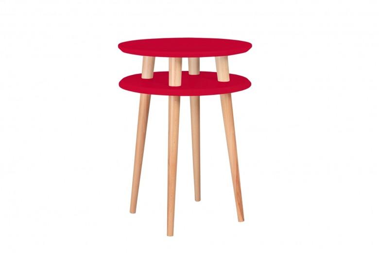 Masa de cafea din lemn de fag si MDF Ufo High Red / Beech, Ø45xH61 cm