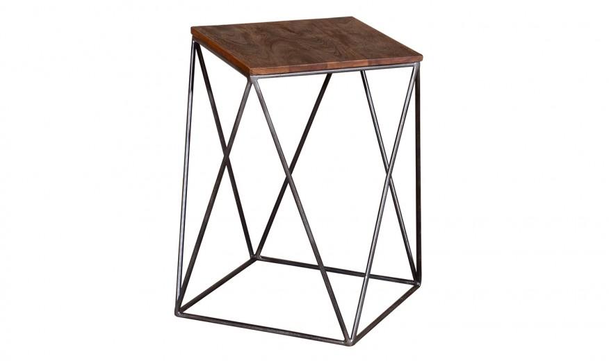 Masa de cafea din lemn de salcam si metal Fes Natural, L36xl36xH56 cm