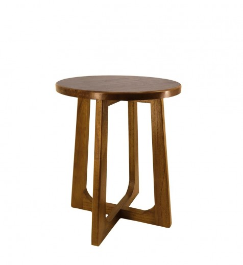 Masa de cafea din lemn si furnir, Nordic Nuc, Ø45xH55 cm