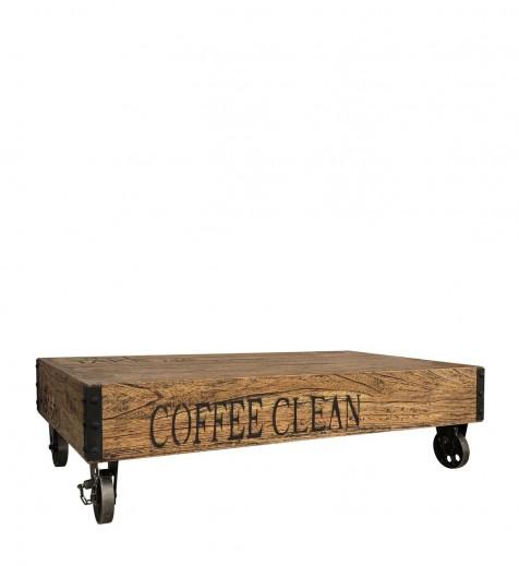 Masa de cafea din lemn si metal, Centro Nico Nuc, L120xl65xH35 cm