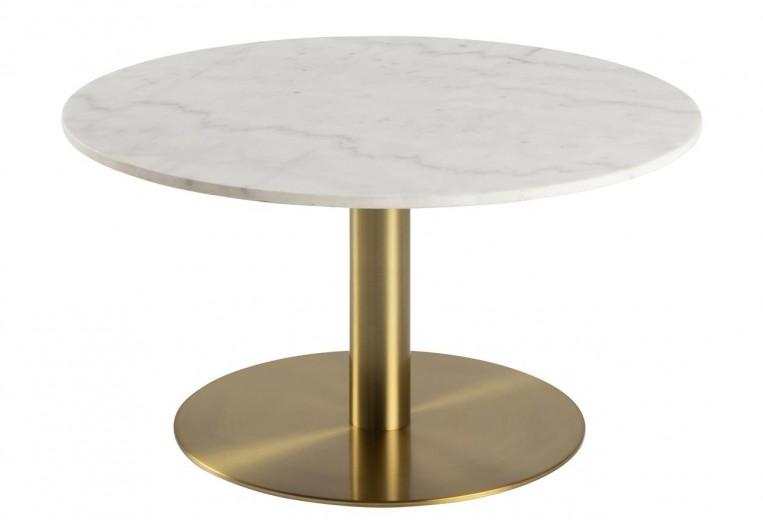 Masa de cafea din marmura si metal Corby Alb / Alama, Ø80xH45 cm