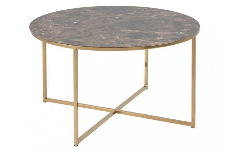 Masa de cafea din MDF si metal Alisma Maro / Auriu, Ø80xH46 cm