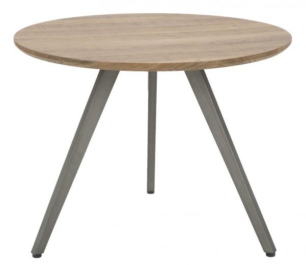 Masa de cafea din MDF si metal Ballart Round Natural / Grey, Ø60xH45 cm