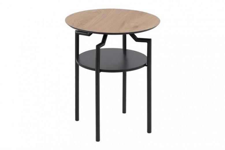 Masa de cafea din MDF si metal Goldington Oak /  Black, Ø 45xH55 cm
