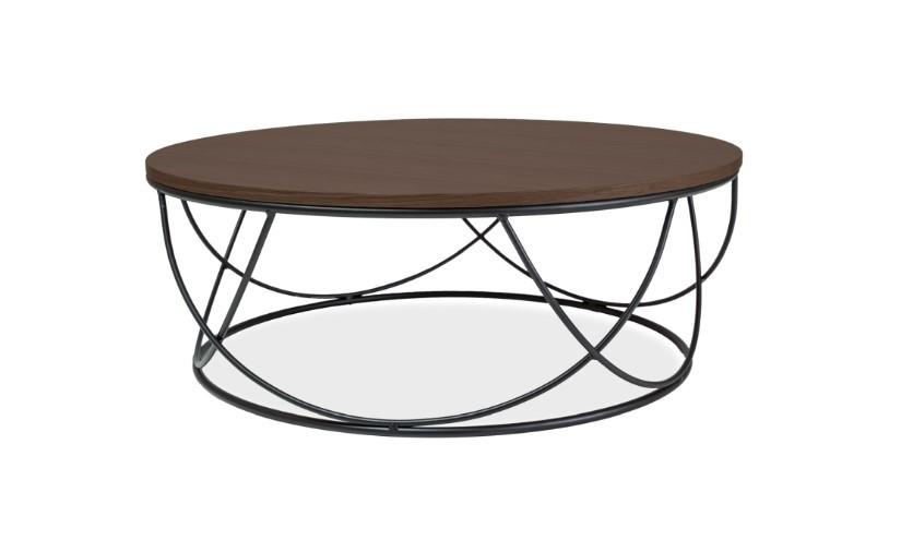 Masa de cafea, din MDF si metal Sepia I Walnut / Black, Ø80xH30 cm