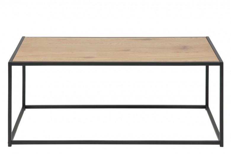 Masa de cafea din metal si pal Seaford Stejar / Negru, L100xl50xH40 cm