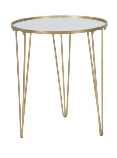 Masa de cafea din metal si sticla Glam Auriu, Ø50xH58,5 cm