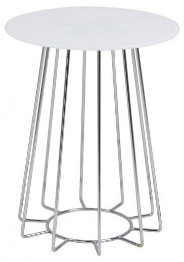 Masa de cafea din sticla si metal Casia Alb / Crom, Ø40xH50 cm