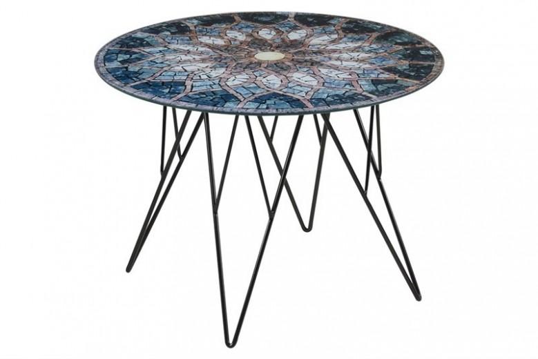 Masa de cafea, din metal si sticla Prunus Multicolour, Ø55xH40 cm