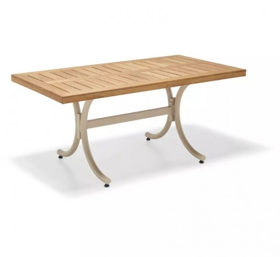 Masa de gradina / terasa din aluminiu si lemn Vegas Capuccino, L180xl90xH77 cm