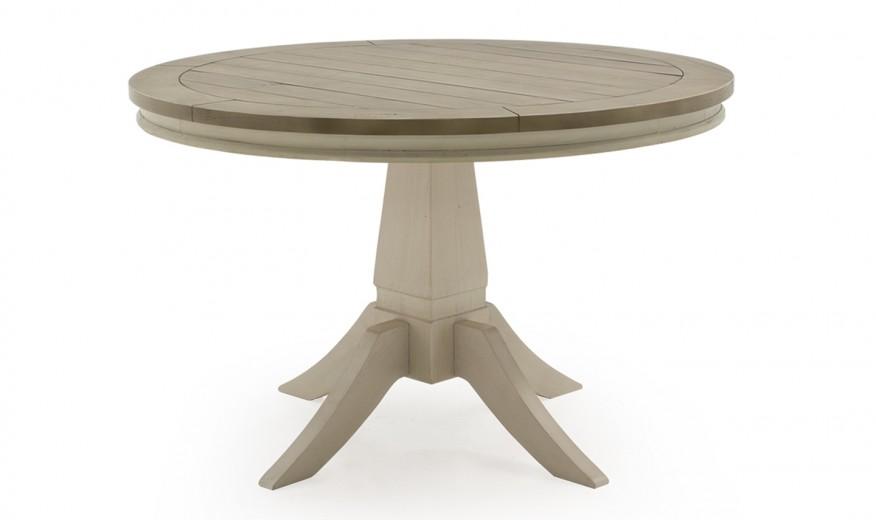 Masa din lemn de pin Croft Antique White, Ø120xH78 cm