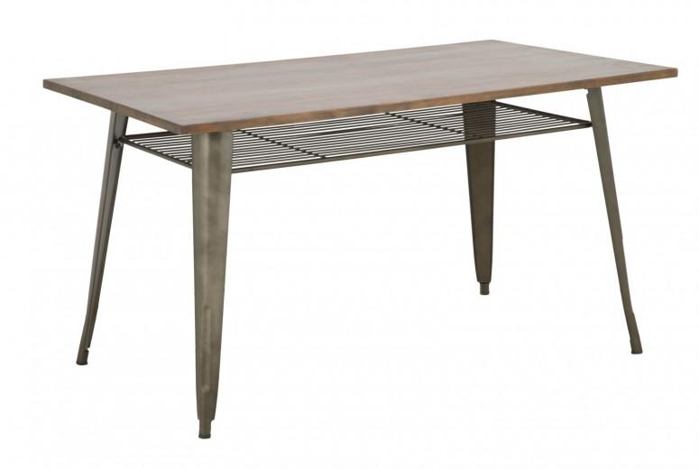 Masa din lemn de pin si metal Harlem Nuc, L140xl80xH75 cm