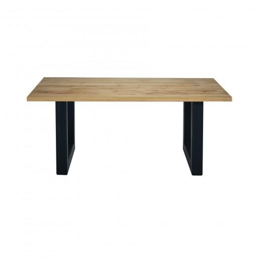 Masa din lemn de stejar salbatic, cu picioare metalice California, L180xl100xH76 cm