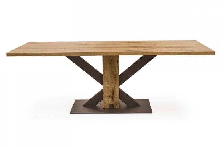 Masa din lemn de stejar si metal Lindau Oak, L180xl94xH75 cm