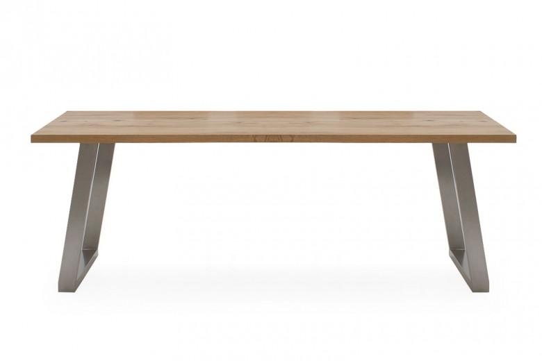 Masa din lemn de stejar si metal Trier Oak, L210xl100xH75 cm