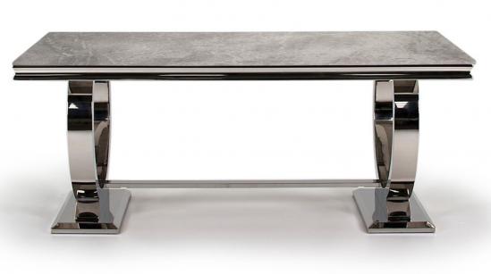 Masa din marmura si metal Arianna Grey, L200xl100xH77 cm