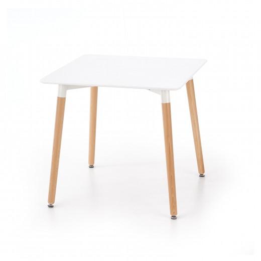 Masa din MDF si lemn Socrates Kwadrat White / Beech, L80xl80xH74 cm