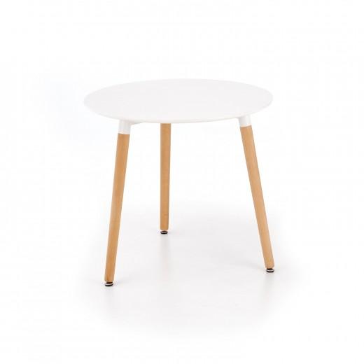 Masa din MDF si lemn Socrates Round White / Beech, Ø80xH74 cm