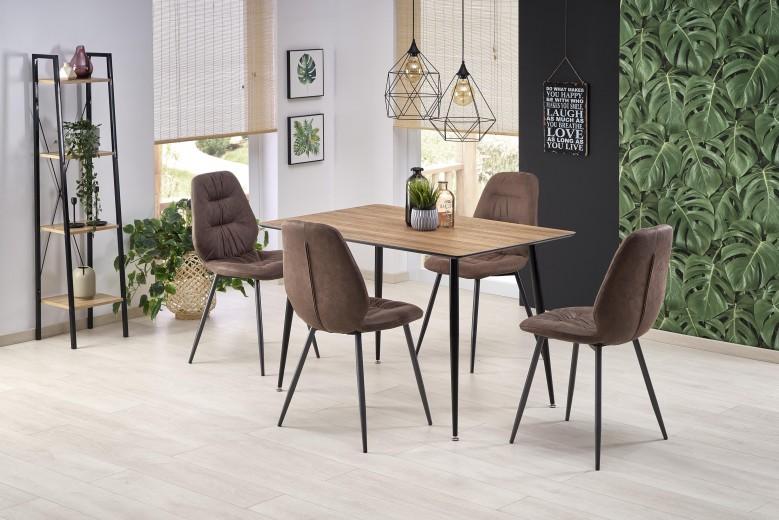 Set masa din MDF si metal Artti Nuc / Negru + 4 scaune tapitate cu stofa K312 Maro, L120xl80xH76 cm