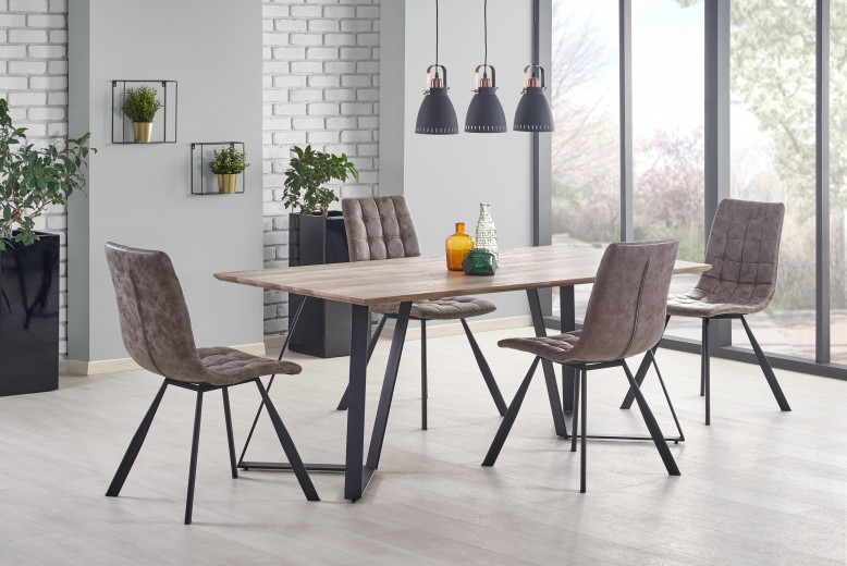 Set masa din MDF si metal Calgary Walnut / Black + 4 scaune K280 Brown, L180xl90xH76 cm