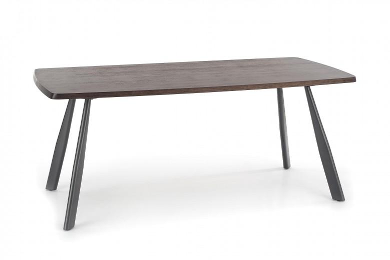 Masa din MDF, furnir si metal Firmino Nuc inchis / Grafit, L180xl90xH76 cm