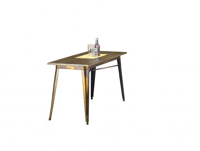 Masa din metal si lemn Magnum Rectangle Yellow Copper, L120xl60xH76 cm