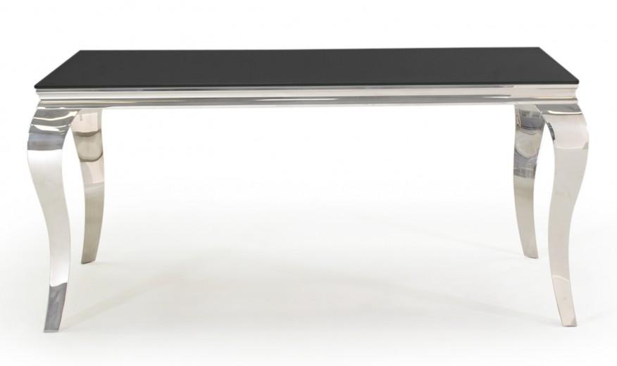 Masa din metal si sticla Louis Black, L160xl90xH75 cm