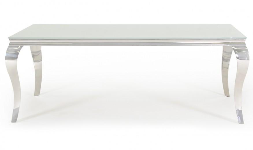 Masa din metal si sticla Louis White, L200xl100xH75 cm