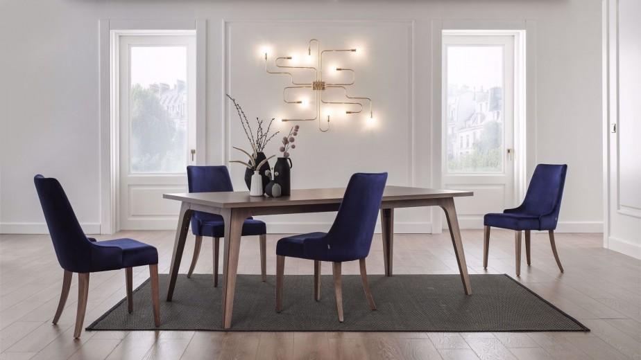 Set masa din pal + 4 scaune tapitate cu stofa, cu picioare din lemn Gold Nuc / Bleumarin, L200xl100xH75 cm