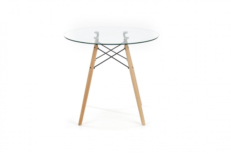 Masa din sticla si lemn Berus Transparent / Beech, Ø80xH72 cm