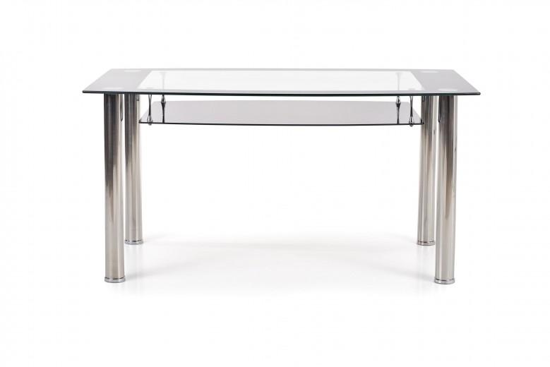 Masa din sticla si metal Cristal Transparent / Black, L150xl90xH77 cm