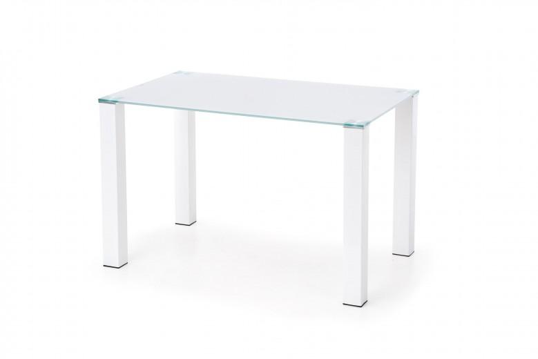 Masa din sticla si metal Merlot White, L120xl75xH75 cm